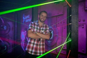 Man standing in laser maze for sale